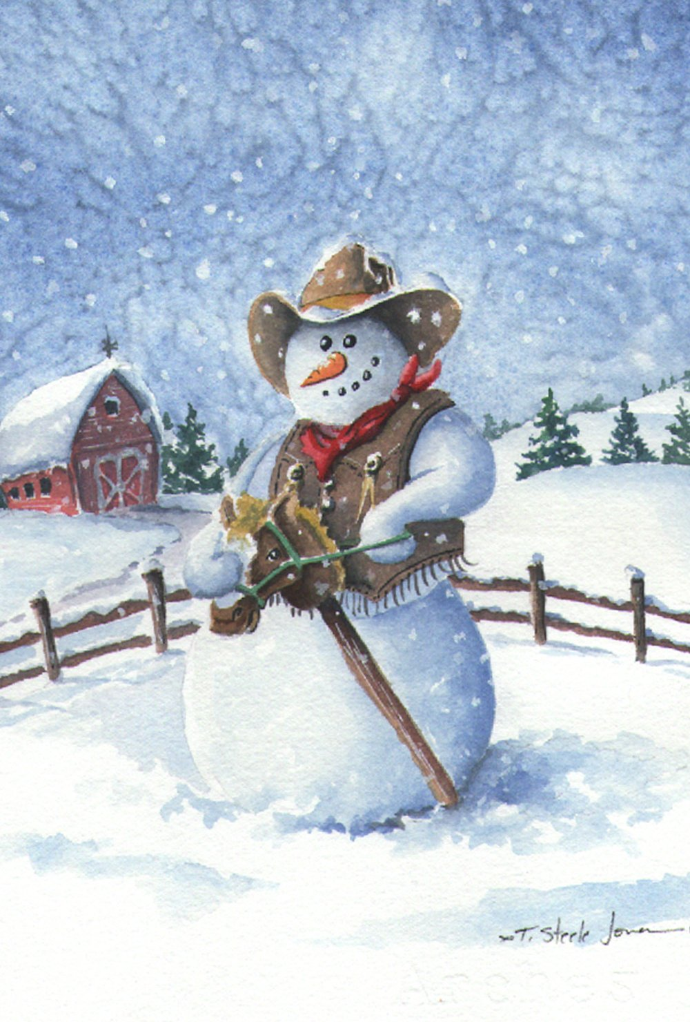 Toland Home Garden Cowboy Snowman 12.5 x 18 Inch Decorative Winter Farm Fun Country Horse Garden Flag