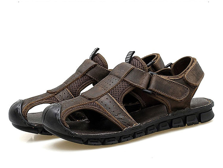 LYJBIK Herren Sommer Leder Outdoor Beach Schuhe Sport Casual Wearable Sandalen Gelb Braun Brown