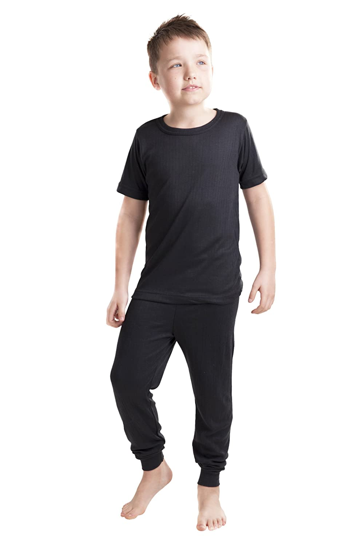 OCTAVE® Viscose Range Kids Thermal Underwear Set - T-Shirt & Long Pants Colour Black