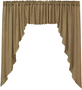 VORTTA Burlap Look Soft Valance and Swag Curtains Set Rustic and Natural Kitchen Curtains, 63 inches Length