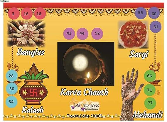 Craftgami - Karwachauth Theme Tambola Tickets - Housie Tickets (24 Tickets)