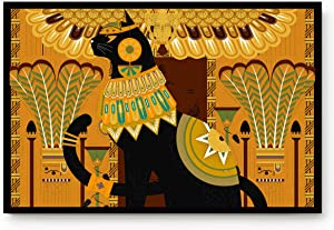 Custom Bed USA Animals Doormat 20x31.5 inch Durable Non-Slip Rubber Backing Bath Rug, Ultra Absorb Door Mats for Front Door Entry and Other Location Egyptian Black Cat Vintage Totem