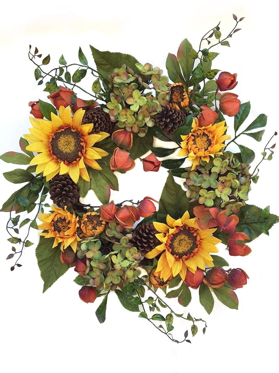 Autumn Elegance Fall Front Door Wreath or Year Round Indoor Home Decor Use Summer Though Fall Has Yellow Sunflowers Hydrangea Pine Cones Chineese Lanterns Outdoor Wreath Wreaths for Door