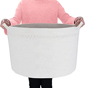 Blanket Basket Large Baby Laundry Hamper XXXLarge Basket Cotton Rope Basket
