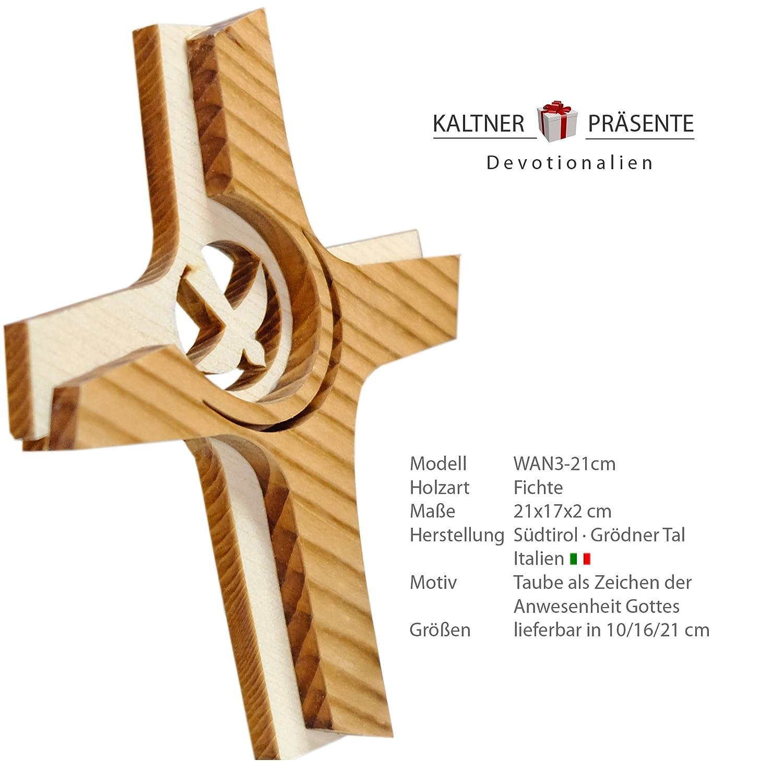 Kaltner Pr/äsente Crucifix en Bois v/éritable avec Colombe pour Le Mur 21 cm