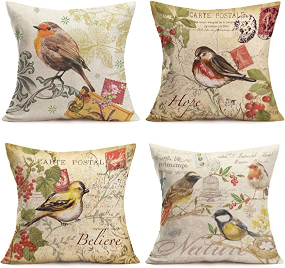 Fukeen Set Of 4 Vintage Birds On Branch Decorative Pillow Case Rustic Style Cotton Linen Throw Cushion Covers Spring Farmhouse Office Decor Believe Hope Words Pillow Protectors Square 18 X18 Home Kitchen