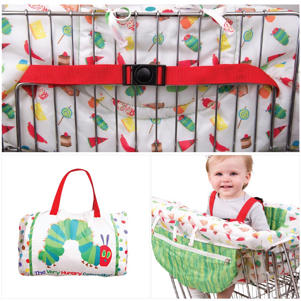 Baby 2-In-1 Shopping Cart Cover Cushion High Chair Cover Mat With Safety Belt for Baby Kids Children Adjustable Baby Supermarket Shopping Trolley Seat Covers