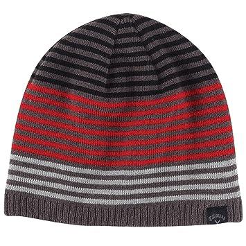 Callaway Golf Stripe Knit Beanie Black Grey Red Black Grey Red ... e788f4b2110