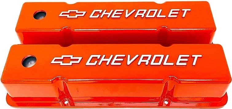 Amazon Com Small Block Chevy Tall Bowtie Logo Raised Letter Orange Valve Covers Automotive