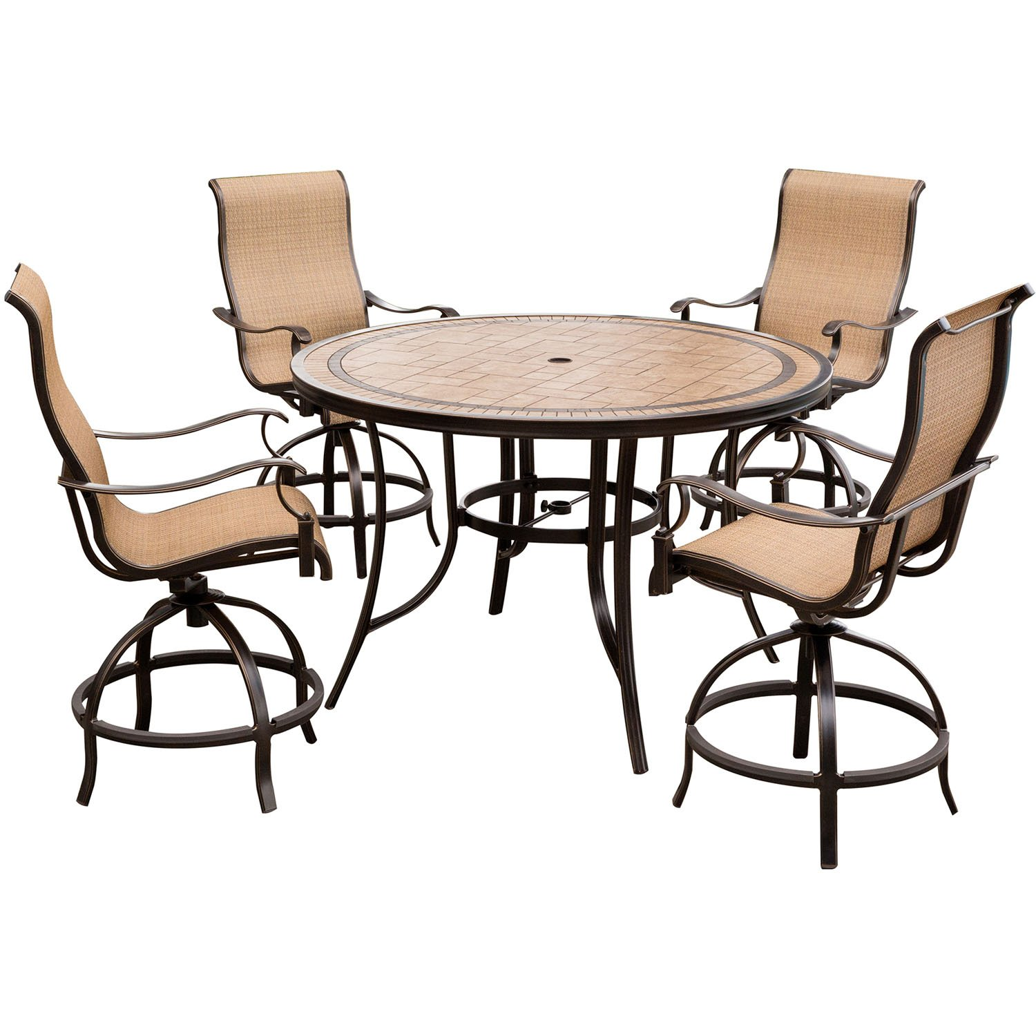 Hanover Monaco 5-Piece High-Dining Set with 56 in. Tile-top Table