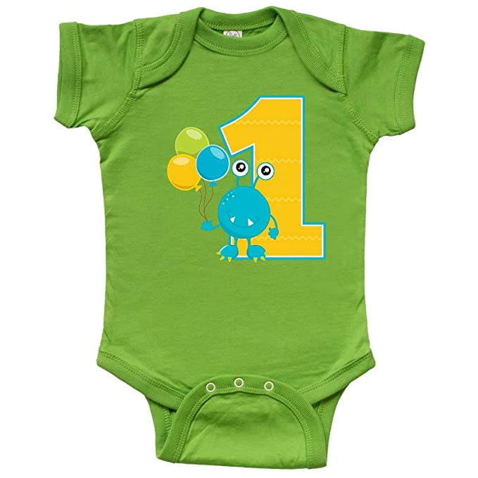 22080210f77 inktastic - First Birthday Monster Infant Creeper Newborn Apple Green 1fa12