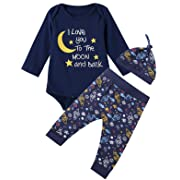 Baby Boys 3PCS Outfit Set Space Ship to The Moon and Back Romper Long Pants with Hat (Blue03, 3-6 Months)
