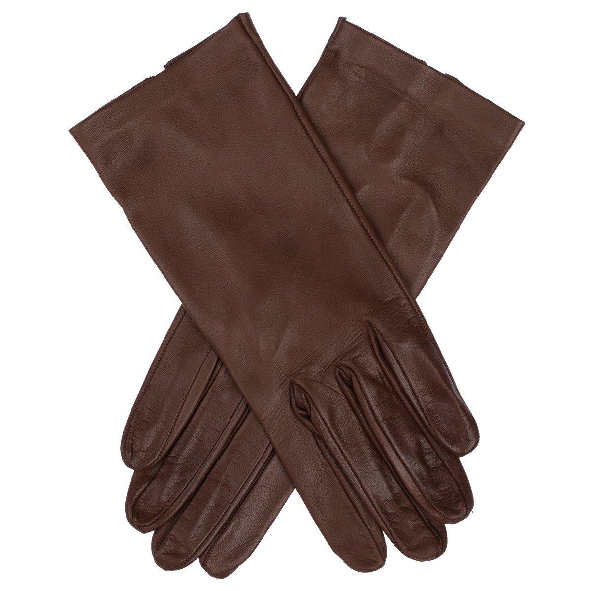 Lundorf Flora Womens Italian Unlined Leather Gloves Havana Brown Size 8