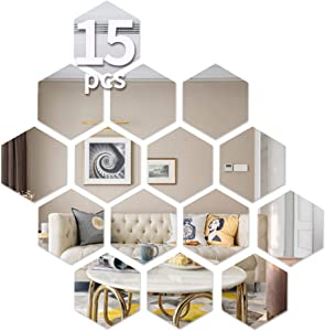 Hexagon Wall Decals, Mirror Wall Stickers,15 PCS Large Removable Acrylic Mirror Wall Stickers Non Glass Mirror 3D Wall Decor Plastic Mirror Tiles Self Adhesive Tiles for Home Living Room Bedroom Decor
