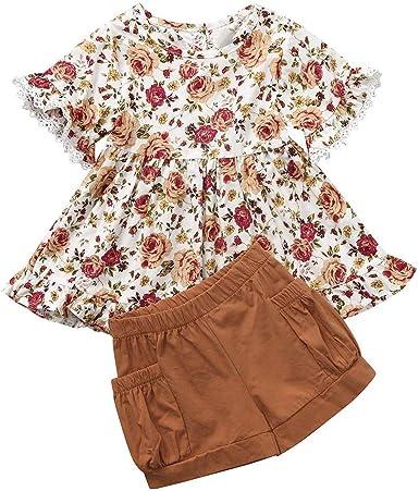Newborn Toddler Infant Baby Girls Floral Print Romper Ruffles Skirt Outfits