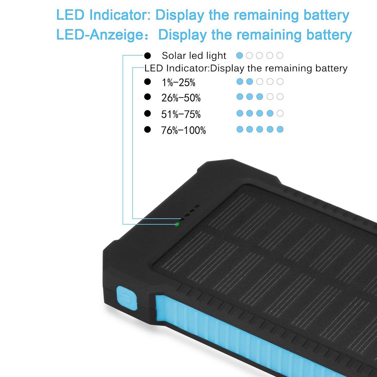 Cargador solar portátil, banco de energía, Floureon, 10000 mAh, con puertos de carga USB dual, para teléfono inteligente cargador de batería externa: ...