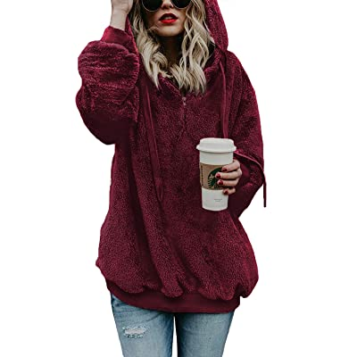 AMAOKYTOP Womens Oversized Sherpa Sweatshirt Fuzzy Fleece Soft Warm Pullover Sweater Zip Hoodie Pocket Coat at Amazon Women's Clothing store