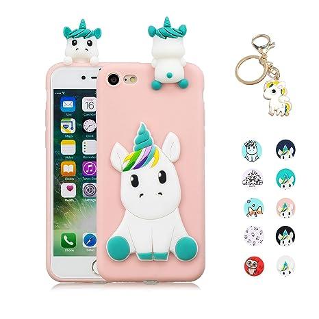 Kawaii-Shop Funda Compatible con iPhone 6S 6 Silicona Case, 3D Unicornio Rosa TPU Gel Carcasa Inquebrantable Shell Cover para Chicas +Llavero de ...