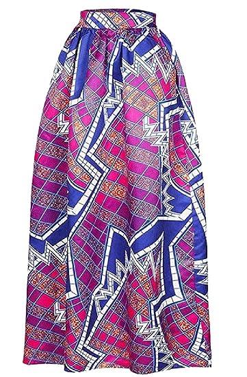 dahuo - Falda Larga de Cintura Alta para Mujer, diseño Floral ...