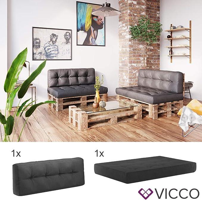 Amazon De Vicco Palettenkissen Set Sitzkissen Ruckenkissen