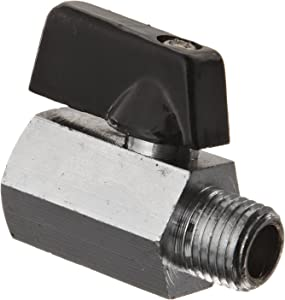 "Kingston KMBVM Series Brass Mini Ball Valve, Lever, 1/4"" NPT Male x NPT Female"