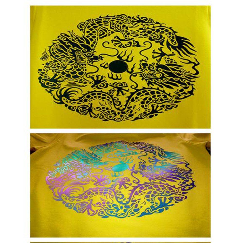 HOHO 50cmx30cm Holographic Chameleon Heat Transfer Vinyl HTV Reflective Film Rainbow Color Adhesive Sheet DIY