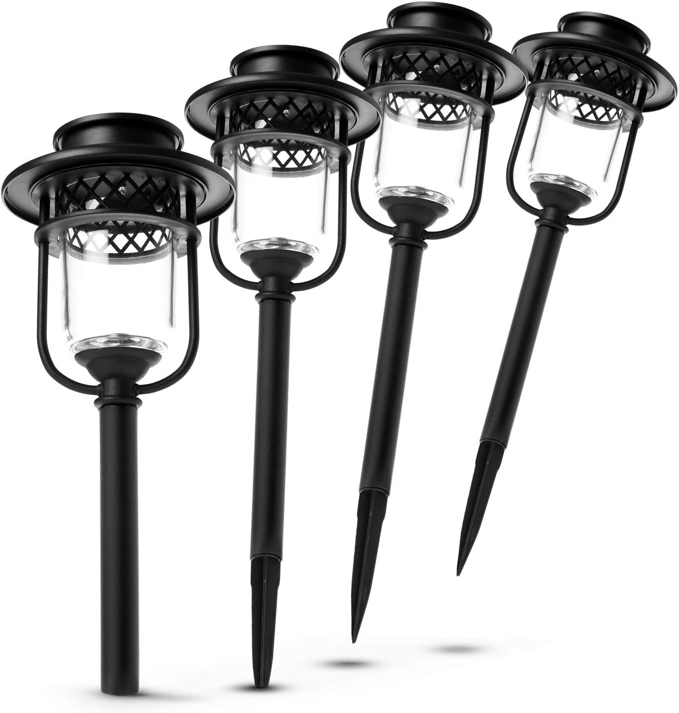 Home Zone Security Pathway & Garden Solar Glass Lights Stainless Steel (4-Set)