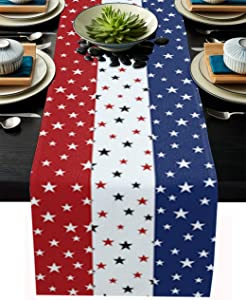Laibao Dining Table Runner for Home Kitchen Dining Table Coffee Table Decor Independence Day American Flag Table Runners for Party/Holiday/Wedding/Gathering Everyday Uses 13x70inch