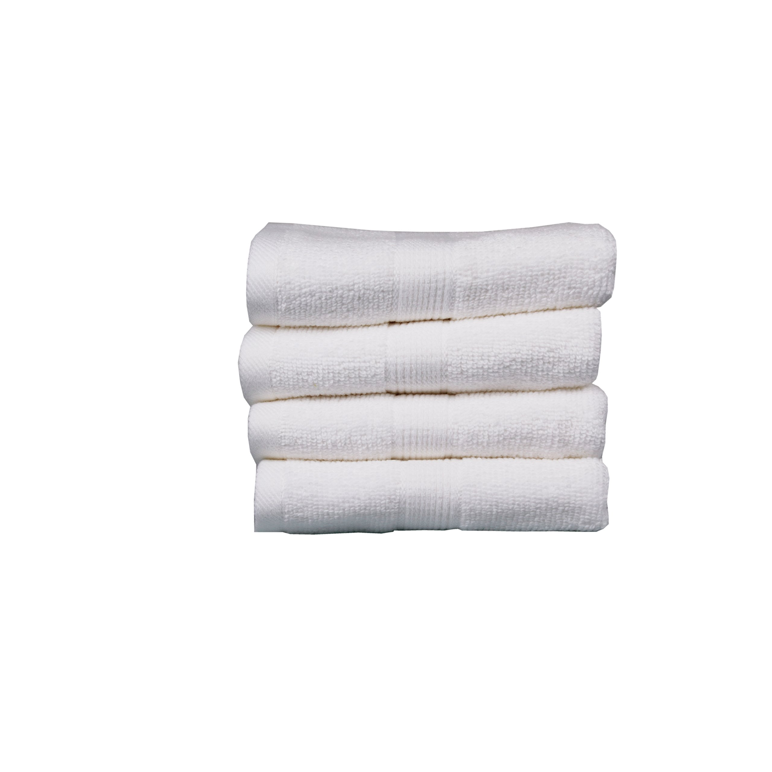 Pure Extravagance Comfort Line, Cotton Large Hand Towels - Multipurpose Use for Bath, Hand, Face, Gym and Spa (4-Pack, White)