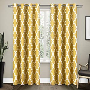 Exclusive Home Ironwork Sateen Woven Blackout Grommet Top Curtain Panel Pair, Sundress Yellow, 52x84