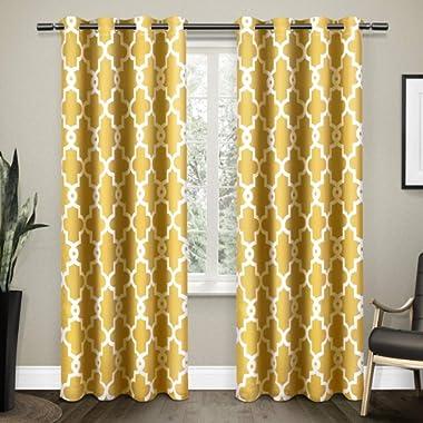Exclusive Home Ironwork Sateen Woven Blackout Grommet Top Curtain Panel Pair, Sundress Yellow, 52x96, 2 Piece