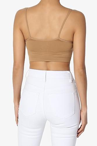 d24d1e9545e4e TheMogan Junior   Plus Crisscross Strappy Seamless Sleeveless Bustier Bra Crop  Top at Amazon Women s Clothing store