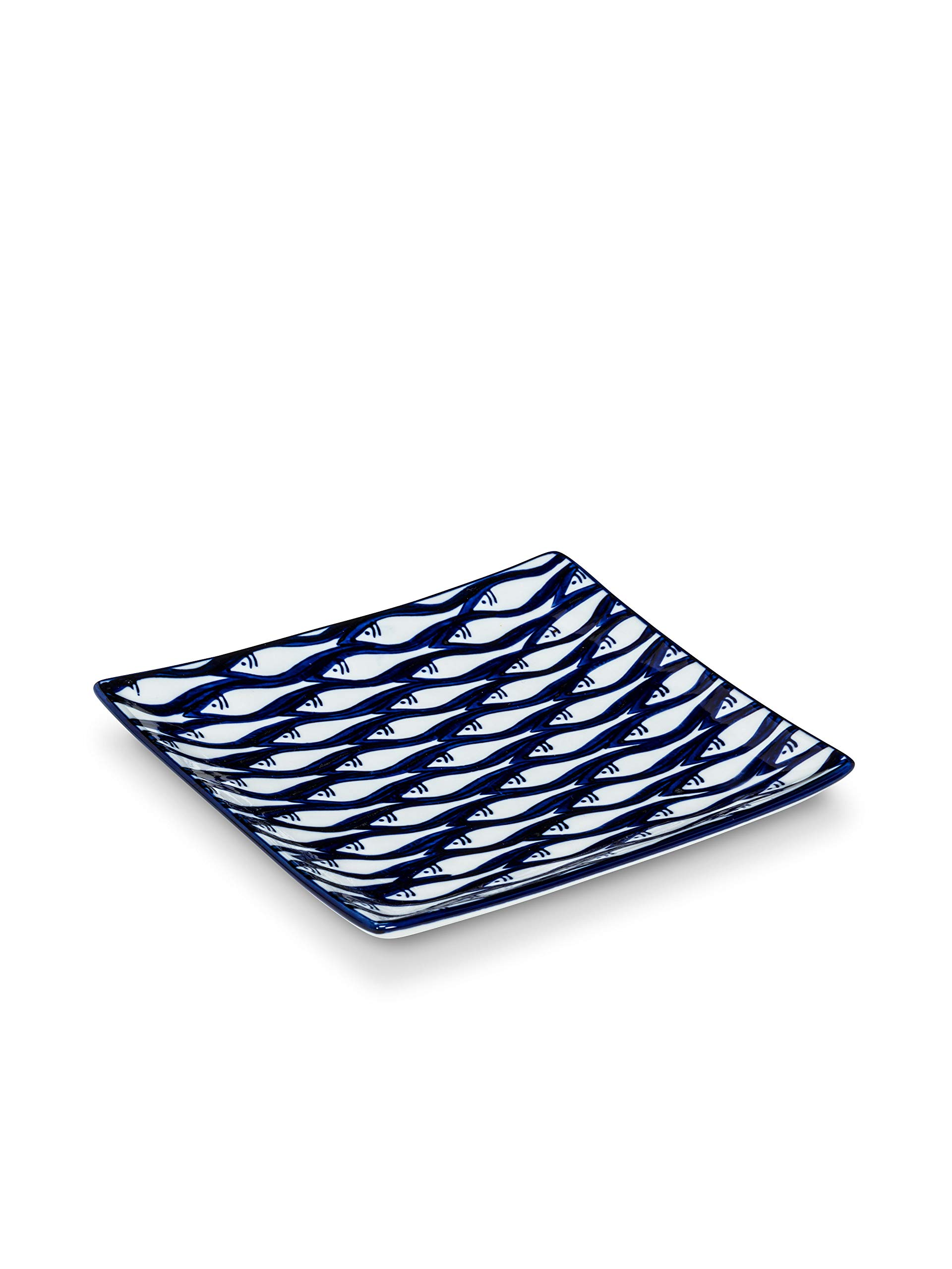 Abbott Collection 27-Cayman Fish School Plate-6'' Sq, 6 inches Square, Blue and White
