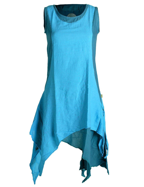 Vishes - Alternative Bekleidung - Ärmelloses Zipfeliges Lagenlook Kleid Tunika aus handgewebter Baumwolle B01JK3R8CA Blausen & Tuniken Personalisierungstrend