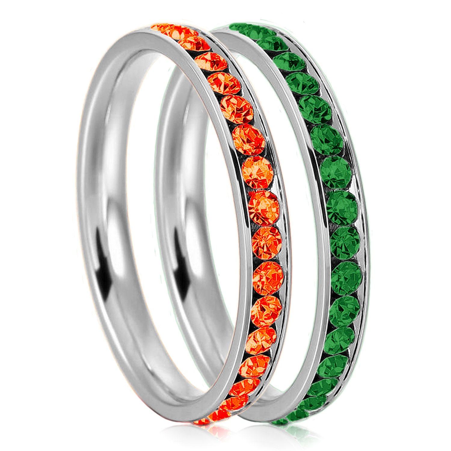 3mm Stainless Steel Eternity Hyacinth & Emerald Color Crystal Stackable Wedding Band Rings (2 pieces) Set, Size 6