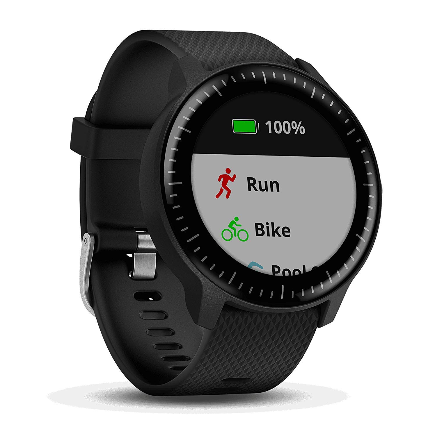 Beach Camera Garmin Vivoactive 3 Music GPS Smartwatch Black with Silver Hardware (010-01985-01) with 1 Year Extended Warranty