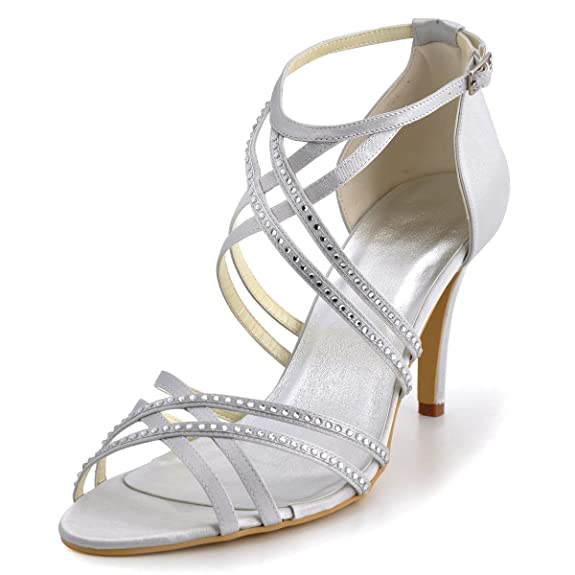 ... Amazon.com ElegantPark EP11062 Women s Open Toe High Heel Cross Strap  Rhinestones Satin Wedding ... 5ca23dc6fa05