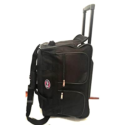 "20"" Black Wheeled Duffle Bag W/Locking Retractable Handle Travel Gym Bag,tote"