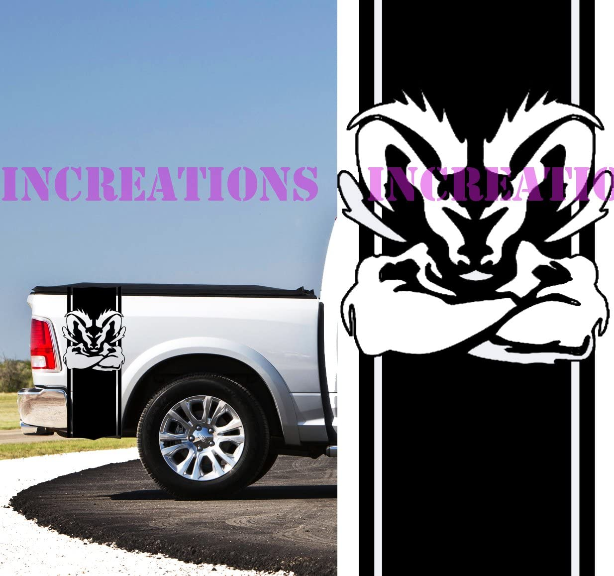 HEMI RAM CAR WINDOW DECAL...2 FOR 1 PRICE..PICK YOUR SIZE /& COLOR