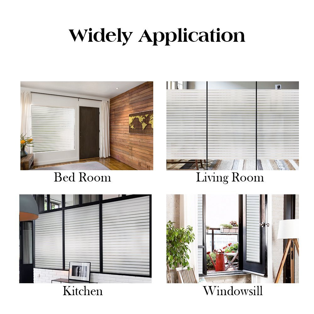 RABBITGOO Frosted Window Clings Privacy Etched Glass Window Film Window Frosting Film Non-Adhesive Window Stickers, 44.5x150cm (Frosted Stripe,17.5'' x 59'') by RABBITGOO (Image #5)