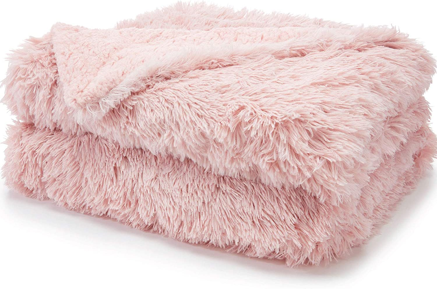 The Connecticut Home Company Shag Bed Throw Blanket, Twin Size, 80x60, Many Colors, Super Soft Large Plush Luxury Reversible Blankets, Warm Hypoallergenic Washable Throws for Couch or Beds, Dusty Rose