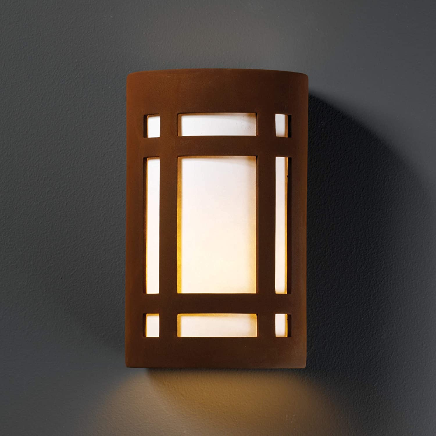 Justice Design Group Ambiance Collection 1-Light Wall Sconce Real Rust Finish