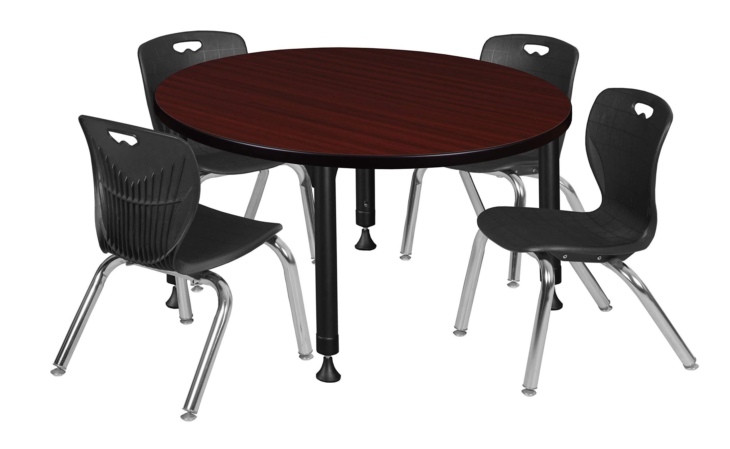 Regency TB42RNDMHAPBK45BK Kee Height Adjustable Classroom Table Set with Four 12'' Andy Chairs, 42'', Mahogany/Black