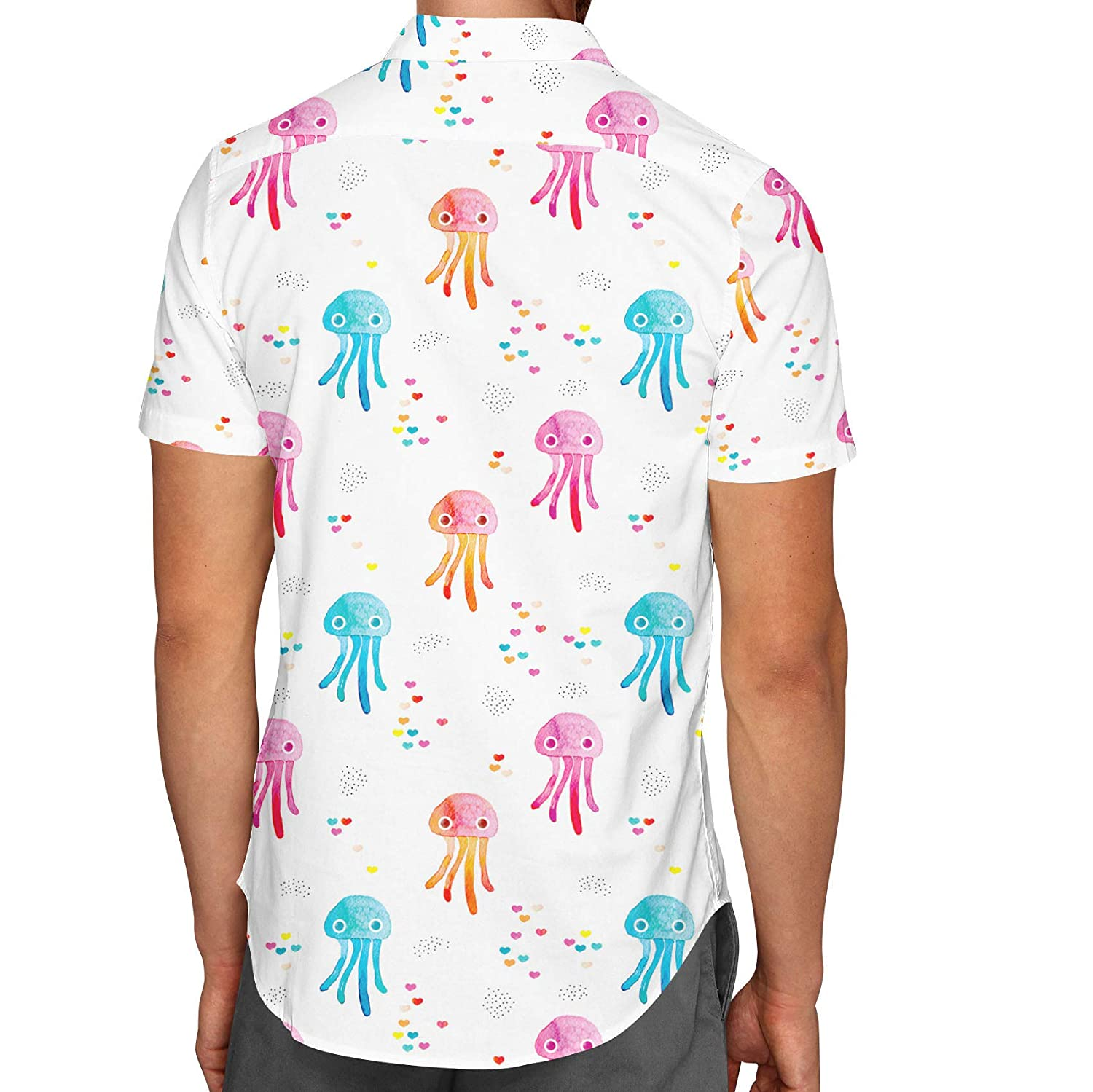 Queen of Cases Watercolor Jelly Fish Mens Button Down Short Sleeve Shirt