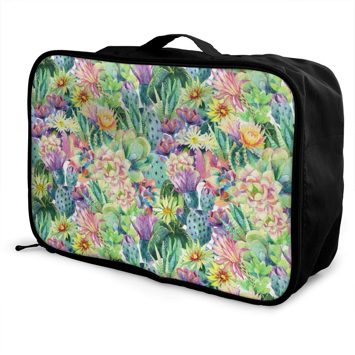 JTRVW Luggage Bags for Travel Cactus Flowers Succulents Travel Duffel Bag Waterproof Fashion Lightweight Large Capacity Portable Duffel Bag for Men /& Women