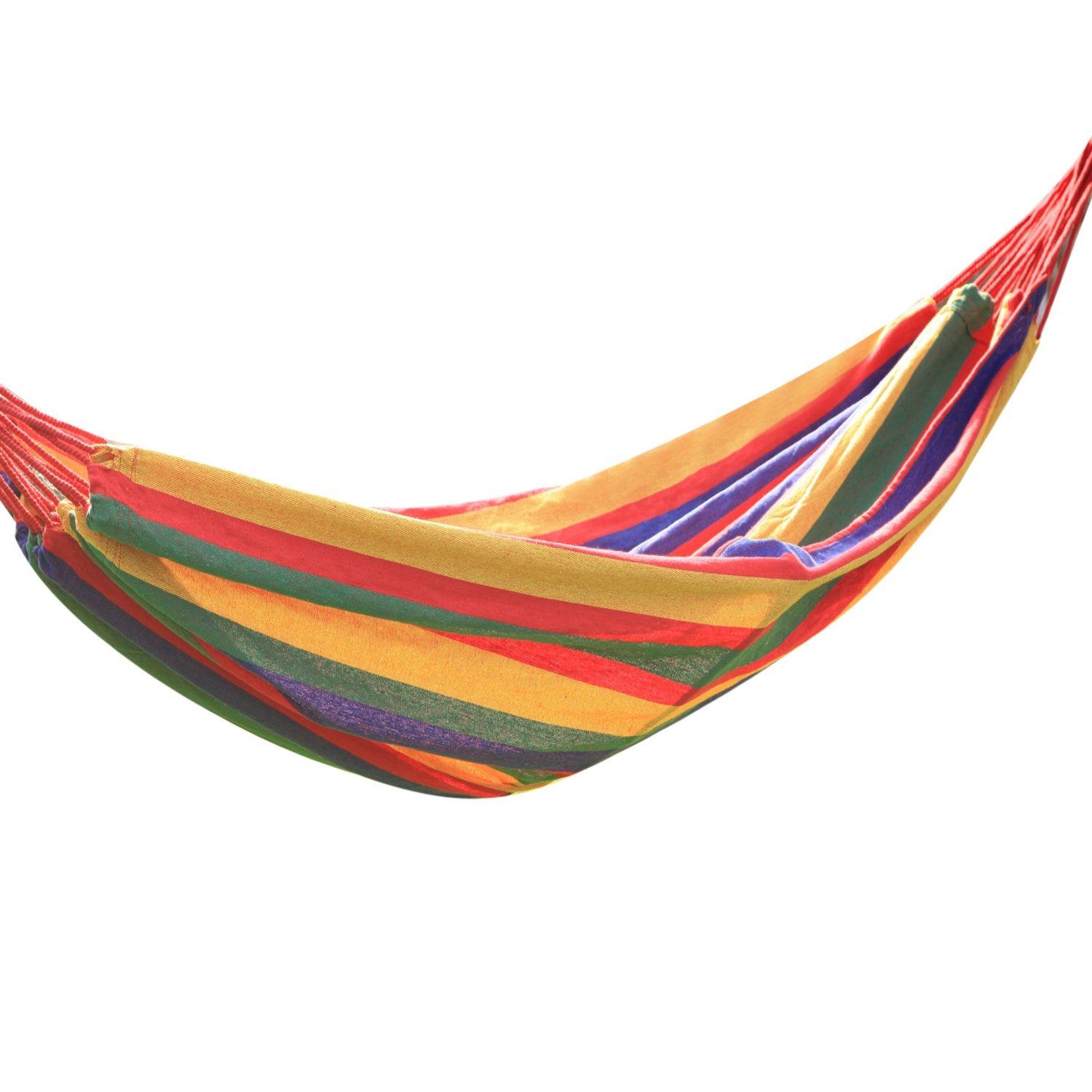 Adeco Naval-Style Cotton Fabric Canvas Hammock Tree Hanging Suspended Outdoor Indoor Bed Cayenne Color, 63 Wide