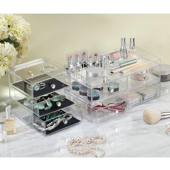 InterDesign Drawers Organizador de maquillaje | Organizador de cosméticos de alta calidad para maquillaje y demás | Caja de maquillaje con 2 cajones ...