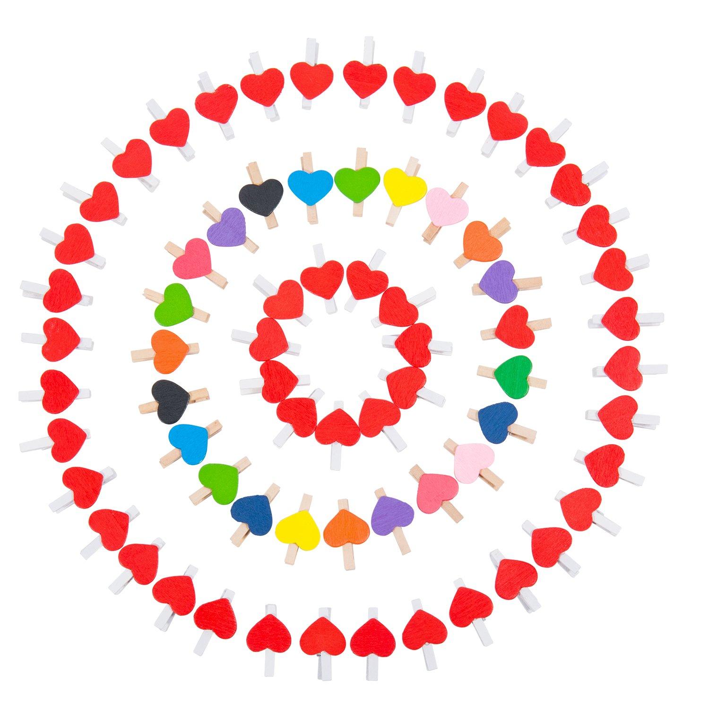 dise/ño de coraz/ón with 2*10 Meters Jute Twine y Varios Chinche para DIY Decoraciones 50 piezas coloridas + 50 piezas rojas ZeWoo 100 Pcs pinzas de madera para colgar fotos