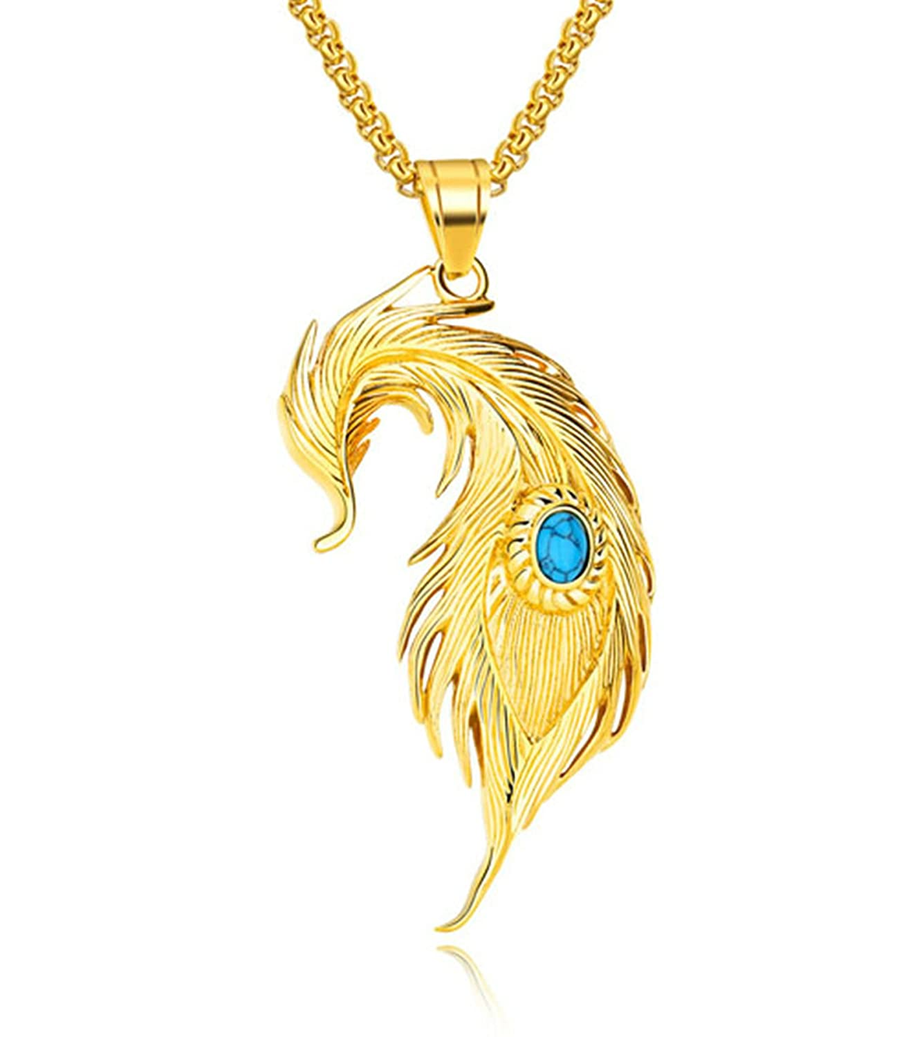 KnSam Necklace Fashion Jewelry Stainless Steel Necklace for Men Feather
