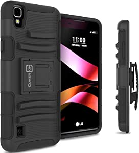 LG Tribute HD Holster Case, LG X Style Holster Case CoverON [Explorer Series] Holster Hybrid Armor Belt Clip Hard Phone Cover for LG Tribute HD/X Style Holster Case - Black
